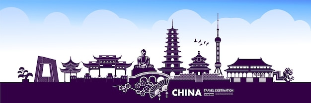 China reisbestemming, illustratie