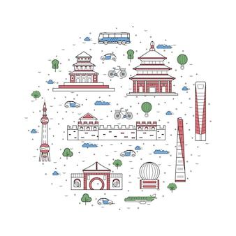 China reizen elementen in lineaire stijl