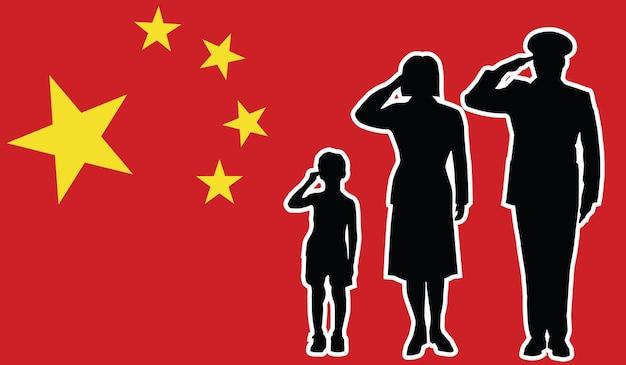 China soldaat familie groet patriot achtergrond