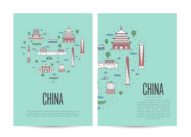 China travel tour booklet in lineaire stijl