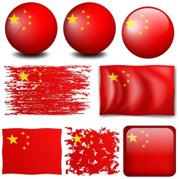 China vlag in verschillende ontwerpen illustratie