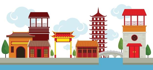 Chinatown traditioneel gebouw en architectuur