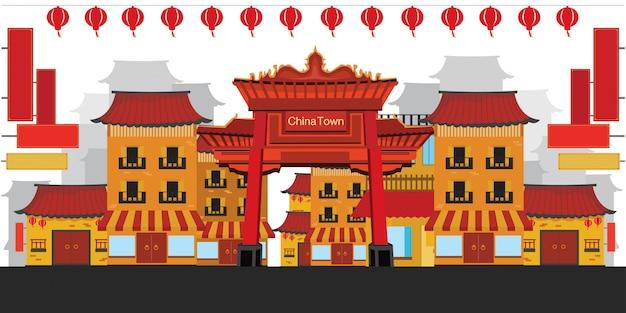 Chinatown vlakke stijl.