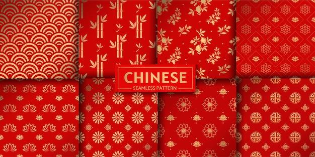 Chinees bloemen naadloos patroon. set lotus, bamboe, zeegolven, granaatbloemen