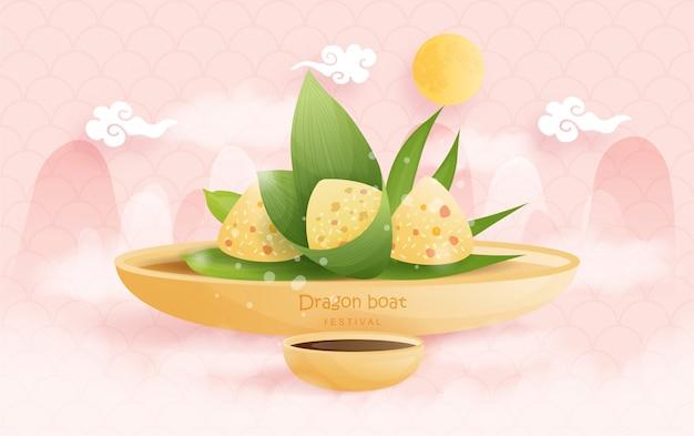 Chinees draakbootfestival met rijstbollen, illustratie.