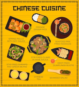 Chinees eten restaurant gerechten menu paginasjabloon