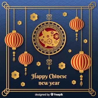 Chinees nieuw jaar 2019 achtergrond in papier stijl