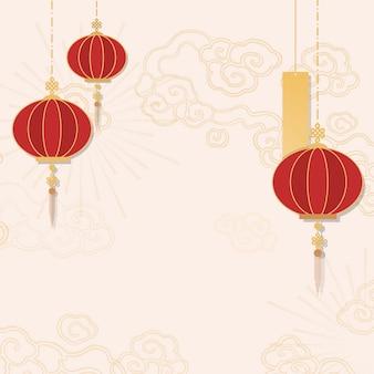 Chinees nieuw jaar mockup illustratie