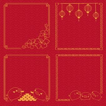 Chinees nieuw jaarframe op traditionele patroonachtergrond