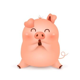 Chinees nieuwjaar 2019. cute cartoon little pig characterdesign geïsoleerd Premium Vector