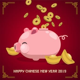 Chinees nieuwjaar 2019 neon achtergrond.