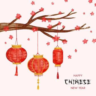 Chinees nieuwjaar achtergrond kaart