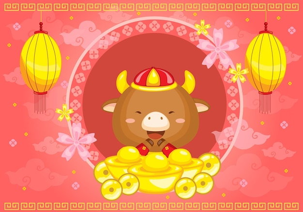 Chinees nieuwjaar achtergrond vector het jaar van os