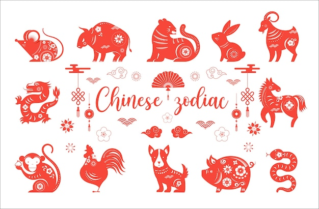 Chinees nieuwjaar, chinese dierenriem dieren symbolen.
