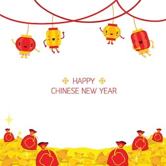 Chinees nieuwjaar cute cartoon versieren op frame, traditionele viering, china, gelukkig chinees nieuwjaar