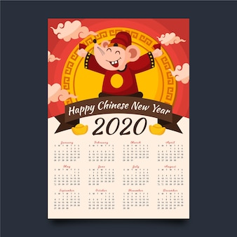 Chinees nieuwjaar kalender plat ontwerp