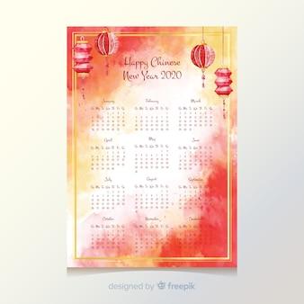 Chinees nieuwjaar kalendersjabloon
