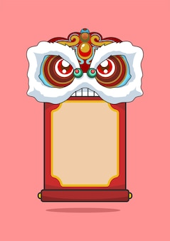Chinees nieuwjaar leeuwendans hoofd en scroll