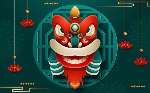 Chinees nieuwjaar leeuwenkop met scroll. vertaling: gelukkig nieuwjaar. vector illustratie