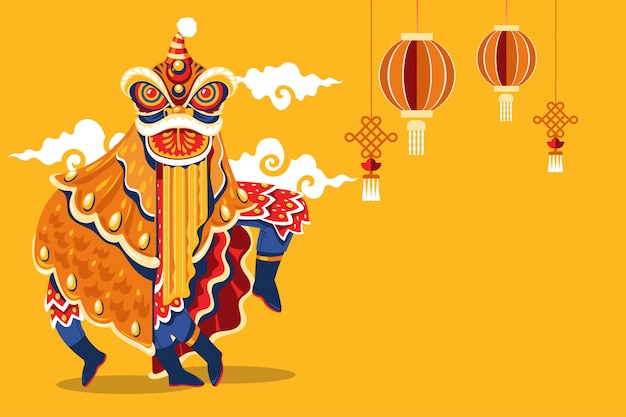 Chinees nieuwjaar lion dance met jump and scroll vector