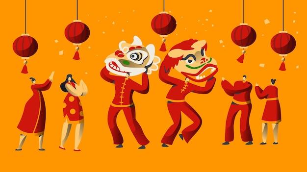 Chinees nieuwjaar parade-tekenset.