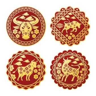 Chinees nieuwjaar set zeehonden met gouden ossen illustratie