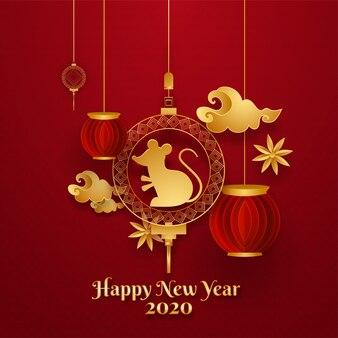 Chinees nieuwjaar van rat-kaart