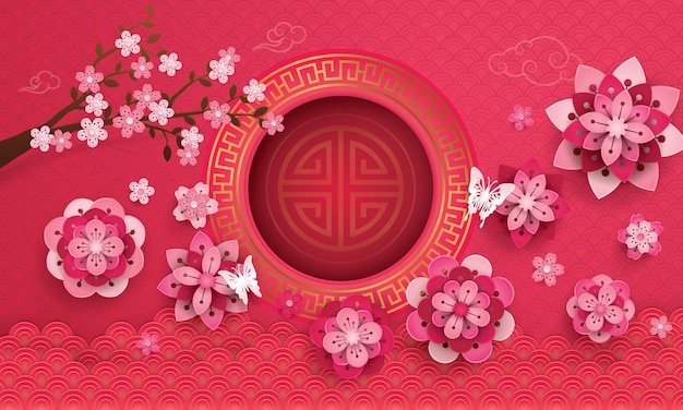 Chinees nieuwjaar wenskaart met frame en bloeiende bloemen