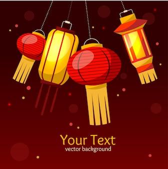 Chinees papier straat of huis lantaarn achtergrond.