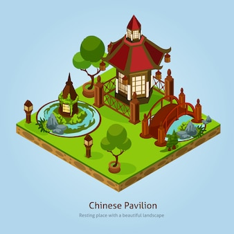 Chinees paviljoen landschap ontwerpconcept