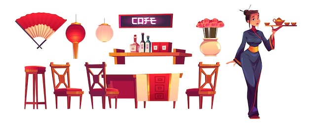 Chinees restaurantpersoneel en spullen geïsoleerde reeks. serveerster in klederdracht met dienblad, aziatisch café decor, lantaarn, ventilator, plank met specerijen, houten tafel en stoelen, cartoon vectorillustratie