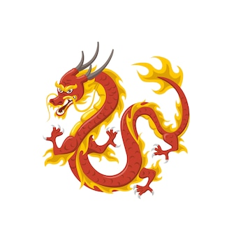 Chinees rood drakensymbool van macht en wijsheid vliegen geïsoleerd op wit