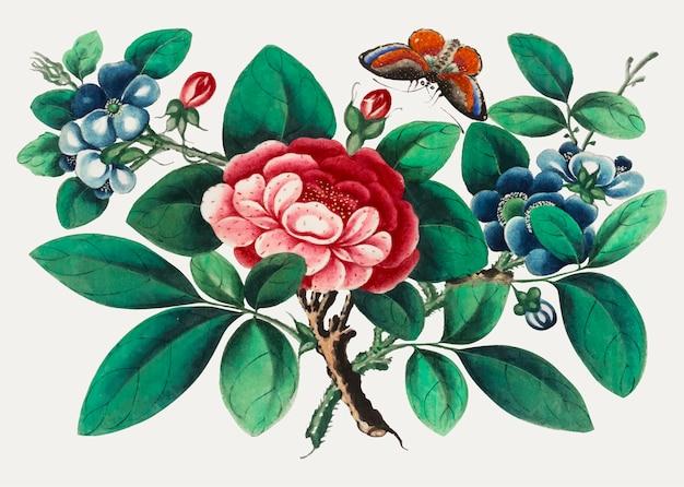 Chinees schilderij met bloemen en vlinder.