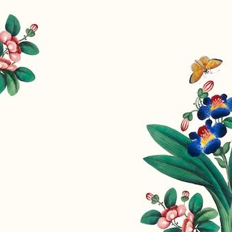 Chinees schilderij met bloemen en vlinders behang