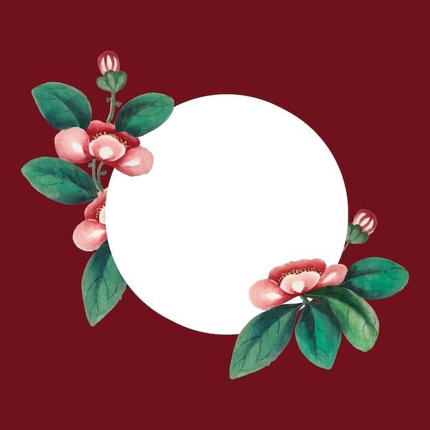 Chinees schilderij met bloemen lege cirkelframe vector