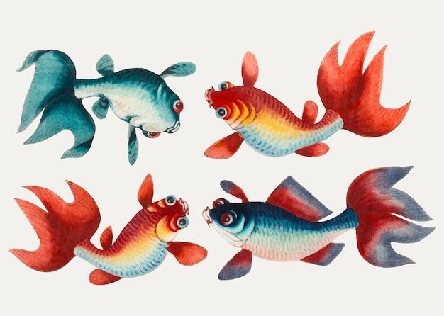 Chinees schilderij met twee gouden en twee zilveren vissen.