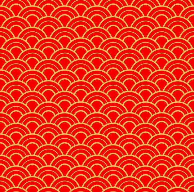 Chinees traditioneel nieuwjaar naadloze patroon. goud en rood nieuwjaar en kerstmis