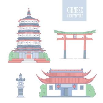 Chinese architectuuroriëntatiepunten. oosterse gebouwen lijntekeningen poort pagode en gazebo. stel verschillende architectonische nationale tradities van china in.
