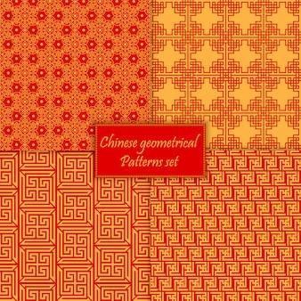 Chinese aziatische naadloze patronen instellen