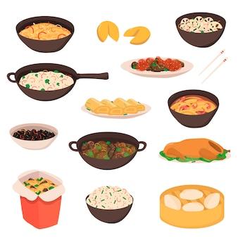 Chinese, aziatische straatvoedsel traditionele heerlijke keuken koken reizen cartoon illustratie geïsoleerd op wit.