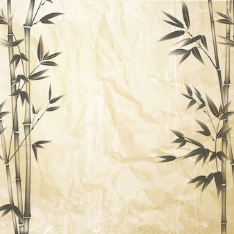 Chinese bamboe op de oud papier achtergrond