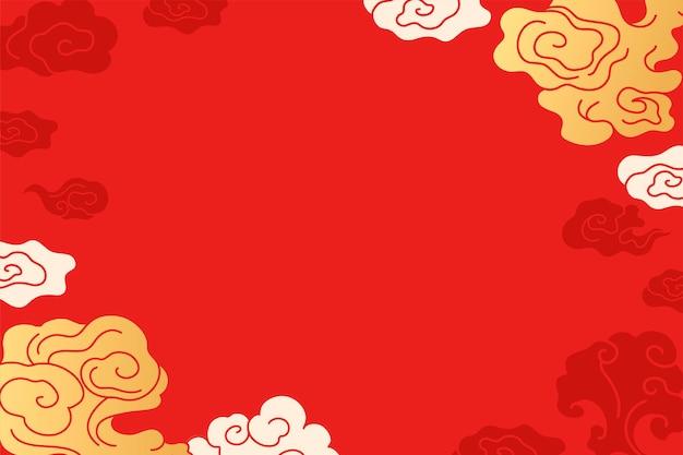 Chinese bureaubladachtergrond, rode wolkillustratie