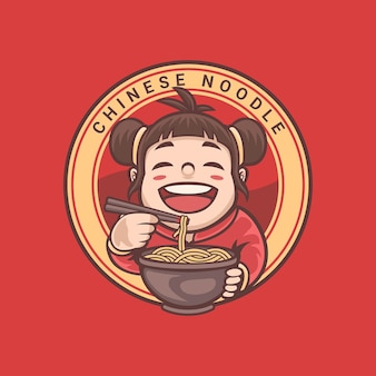 Chinese cartoon mascotte van noodle shop logo