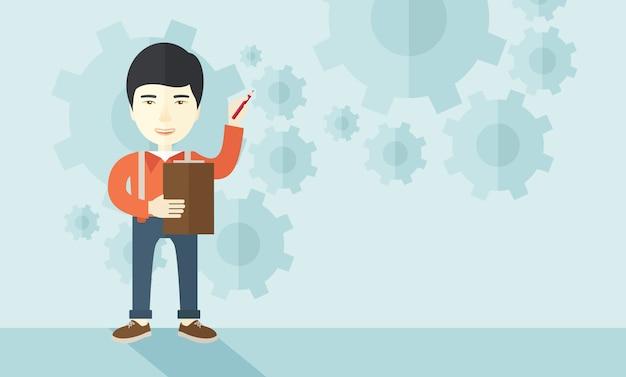 Chinese docent met versnellingen achtergrond
