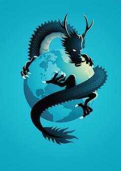 Chinese draak die de wereld omcirkelt