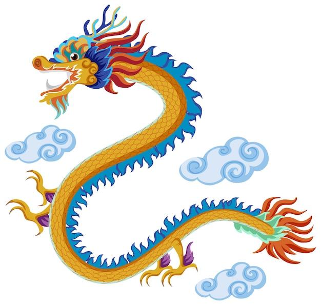 Chinese draak die over wolken vliegt die op witte achtergrond worden geïsoleerd