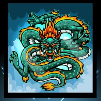 Chinese draak esport logo ontwerp