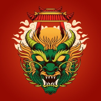 Chinese draak hoofd illustratie