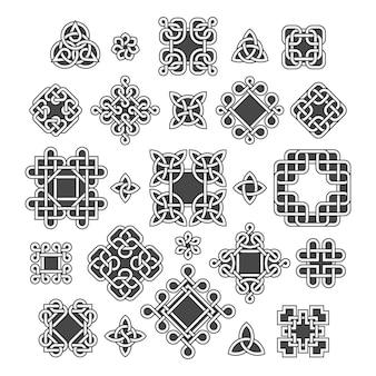 Chinese en keltische eindeloze knopen en patronen