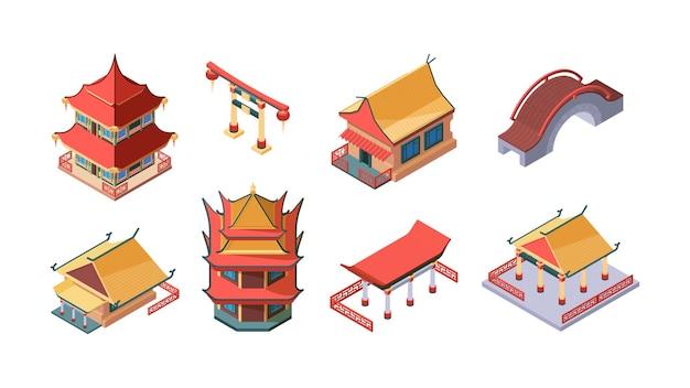 Chinese etnische gebouwen isometrische set illustratie Premium Vector